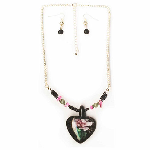 Mixit™ Gold-Tone Black Murano Glass Heart Pendant Necklace and Earring Set