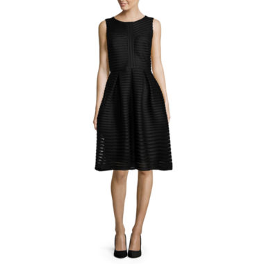 jcpenney.com | R&K Originals® Sleeveless Stripe Mesh Fit-and-Flare Dress