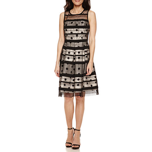 Studio 1® Sleeveless Striped Dot Fit-and-Flare Dress - Petite