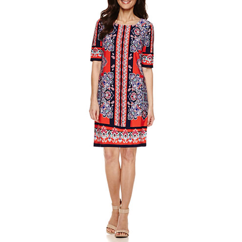 R & K Originals Elbow Sleeve Shift Dress-Petites