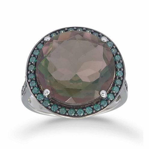 Womens Black Quartz Sterling Silver Halo Ring