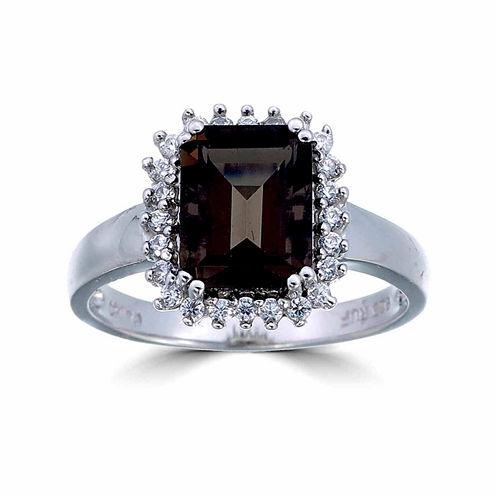Womens Brown Quartz Sterling Silver Halo Ring
