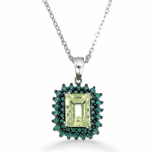 Womens Yellow Quartz Sterling Silver Pendant Necklace