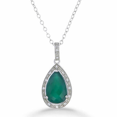 jcpenney.com | Womens Green Agate Sterling Silver Pendant Necklace
