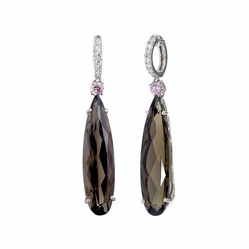 Brown Quartz Sterling Silver Drop Earrings
