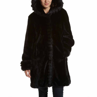 Excelled® Faux Fur Short Solid Coat by Excelled Leather