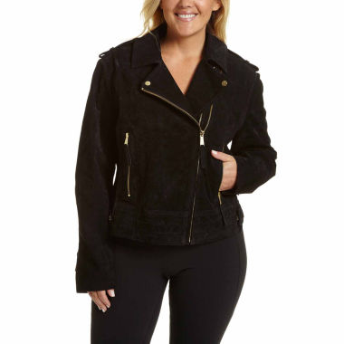 jcpenney.com | Excelled® Asymmetrical Suede Moto Jacket - Plus