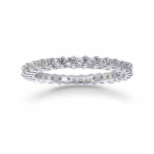 Womens White Sapphire Sterling Silver Eternity Band