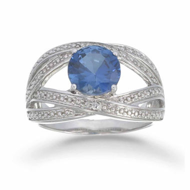 jcpenney.com | Womens 1/5 CT. T.W. Blue Sapphire Sterling Silver Bypass Ring