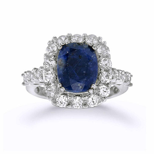 Womens Dyed Blue Sapphire Sterling Silver Halo Ring