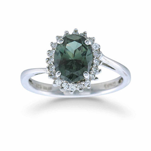 Womens Green Sterling Silver Halo Ring