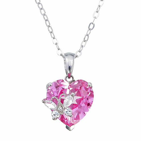 Womens Pink Sapphire Sterling Silver Pendant Necklace