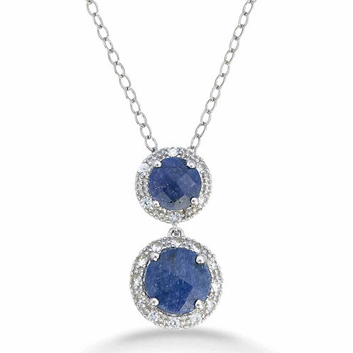 Womens Blue Sapphire Sterling Silver Pendant Necklace