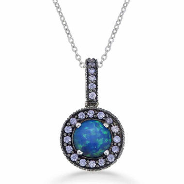 jcpenney.com | Womens Blue Opal Sterling Silver Pendant Necklace