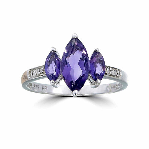 Womens Diamond Accent Purple Amethyst Sterling Silver 3-Stone Ring