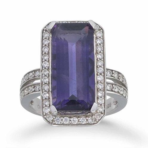 Womens Purple Amethyst Sterling Silver Halo Ring