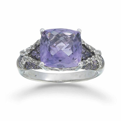Womens Purple Amethyst Sterling Silver Halo Ring