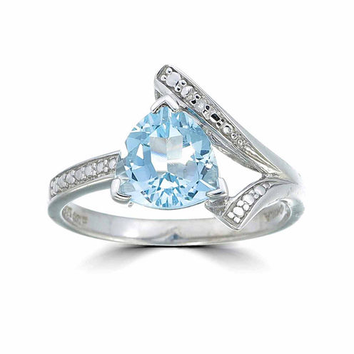 Womens Diamond Accent Blue Topaz Sterling Silver Cocktail Ring