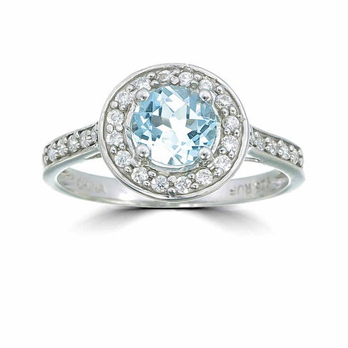 Womens Blue Topaz Sterling Silver Halo Ring