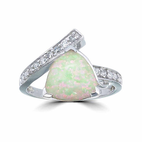 Womens White Opal Sterling Silver Bypass Ring
