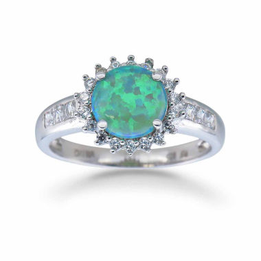 jcpenney.com | Womens Green Opal Sterling Silver Halo Ring