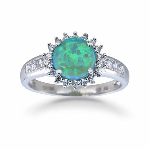 Womens Green Opal Sterling Silver Halo Ring