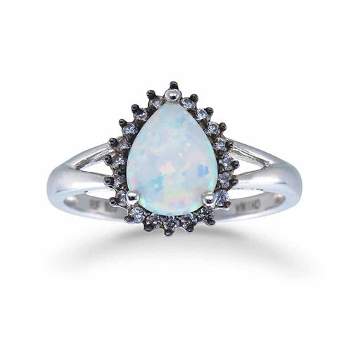 Womens Simulated White Opal Sterling Silver Halo Ring