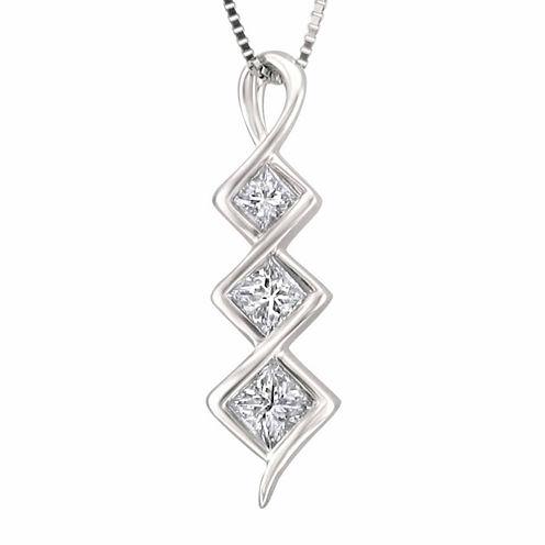 Womens 5/8 CT. T.W. White Diamond 14K Gold Pendant Necklace