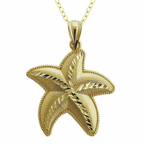 10K Yellow Gold Star Fish Charm Pendant