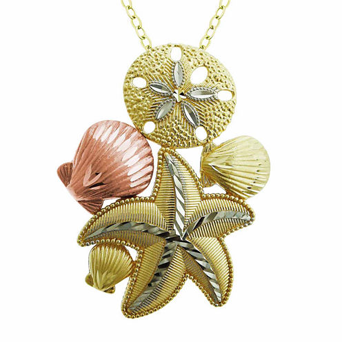 Womens 10K Gold Tri-Color Sea Life Pendant Necklace