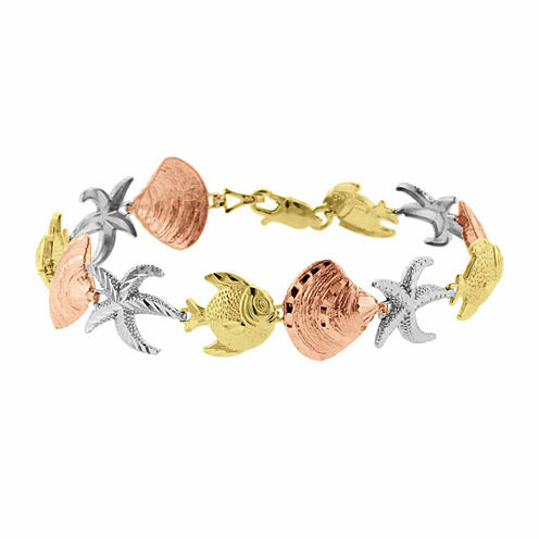 10K Yellow Gold Sea Life Bangle Bracelet