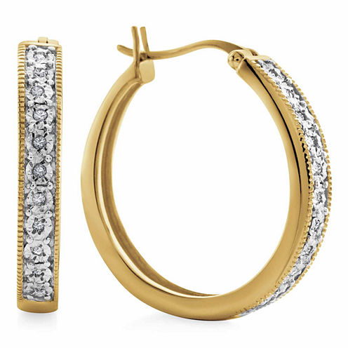 Diamond Accent White Diamond Gold Over Silver Hoop Earrings