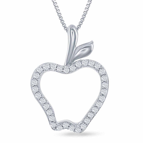 "Enchanted by Disney 1/10 C.T. T.W. Diamond ""Disney Princess"" Apple Pendant Necklace In Sterling Silver"