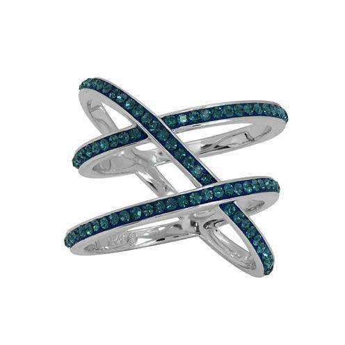 Womens Blue Crystal Cocktail Ring