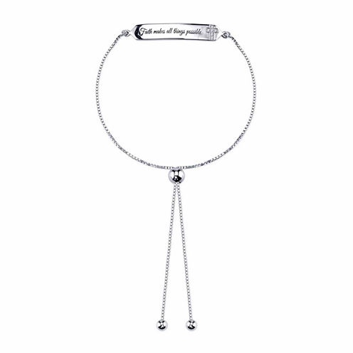 Inspired Moments Womens White Cubic Zirconia Faith Bracelet