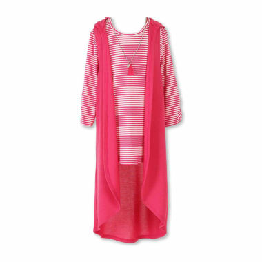 jcpenney.com | Total Girl® 2-pc. Striped Tee and Hooded Duster Set - Girls 7-16 and Plus