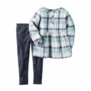 Carter's Girl Purple Plaid 2pc Playwear Set Nb-24M