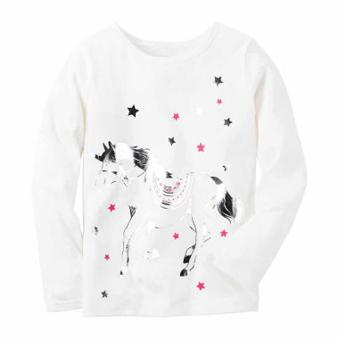 jcpenney.com | Carter's Girl Ivory Unicorn Knit Tee 4-8