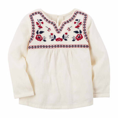 jcpenney.com | Carter's Girl Ivory Red Woven Fashion Top 4-8
