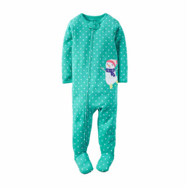jcpenney.com | Carter's Girl Turq Snowman 1pc Sleeper 12-24M
