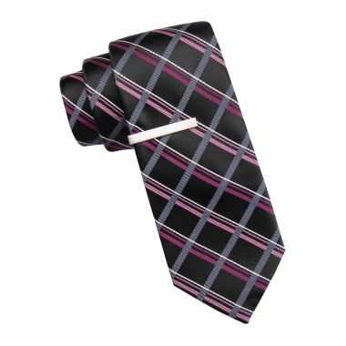 jcpenney.com | JF J. Ferrar® Atlantic Avenue Grid Tie and Tie Bar Set