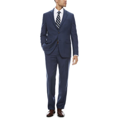 jcpenney.com | Stafford Travel Stretch Blue Windowpane Suit Separate-Classic Fit