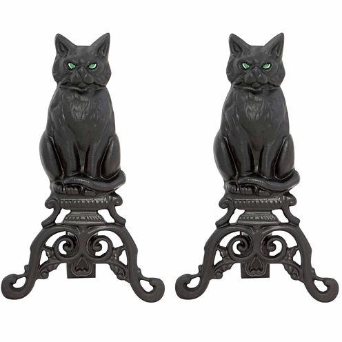 Blue Rhino Black Cast Iron Cat Andirons