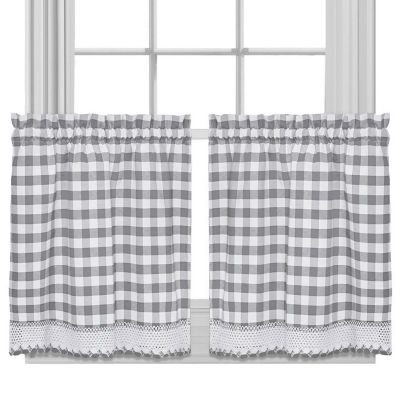Buffalo Check Gingham Kitchen Curtains Tiers Or Valance   Gray