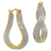 Classic Treasures™ Two-Tone Diamond-Accent Wave Hoop Earrings