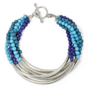 Arizona Multi-Row Blue Bead Toggle Bracelet