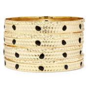 Bold Elements Hammered Metal Bangle Set