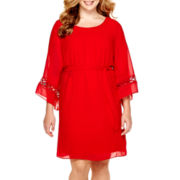 by&by Bell-Sleeve Crochet-Inset Dress - Plus