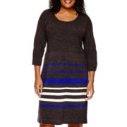 Studio 1® 3/4-Sleeve Striped Sweater Dress - Plus