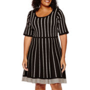 Danny & Nicole® Elbow-Sleeve Sweater Dress - Plus